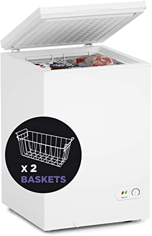 Northair Chest Freezer - 3.5 Cu Ft with 2 Removable Baskets - Reach In Freezer Chest - Quiet Compact Freezer - 7 Temperature Settings - White
