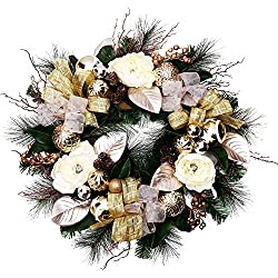 """V&M VALERY MADELYN Christmas Wreath Pre-Lit 24""""Champagne Gold Artificial Greenery Spruce Wreath, Decorative Wreath with Christmas Ball Ornaments and Simulation Flowers, Battery Operated 20 LED Lights."""