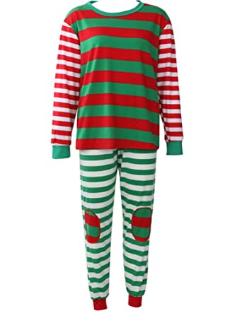 5298a478ec Christmas Pajamas for Family Kid Women Men Xmas Pjs Set Stripe Sleep Lounge  wear at Amazon Women s Clothing store