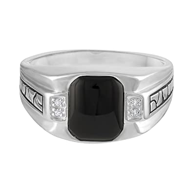 acf8a7806 Esty & Me Men's Black Onyx Ring in Sterling Silver - Size 10|Amazon.com