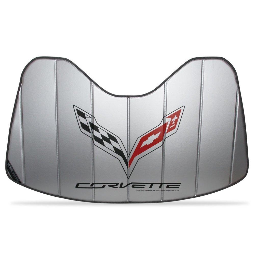 West Coast Corvette Logo Accordion Style Sunshade - Insulated Silver : C7 Stingray, Z51, Z06, Grand Sport 27170300