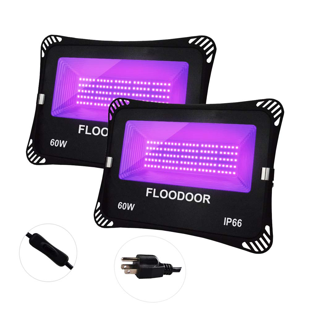 FLOODOOR 2 Pack 60W UV LED Black Light,IP66 Waterproof with Plug for Stage Lighting, Aquarium, Body Paint, Neon Glow, Indoor and Outdoor Blacklight Party, Fluorescent Effect