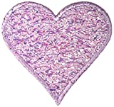 "[1 Count] Custom and Unique (2.5"" x 2.75"" Inch) Pastel Lilac Metallic Thread Shiny Heart Shape Love Valentine's Day Design Iron & Stick On Adhesive Embroidered Applique Patch {Light Purple Color}"