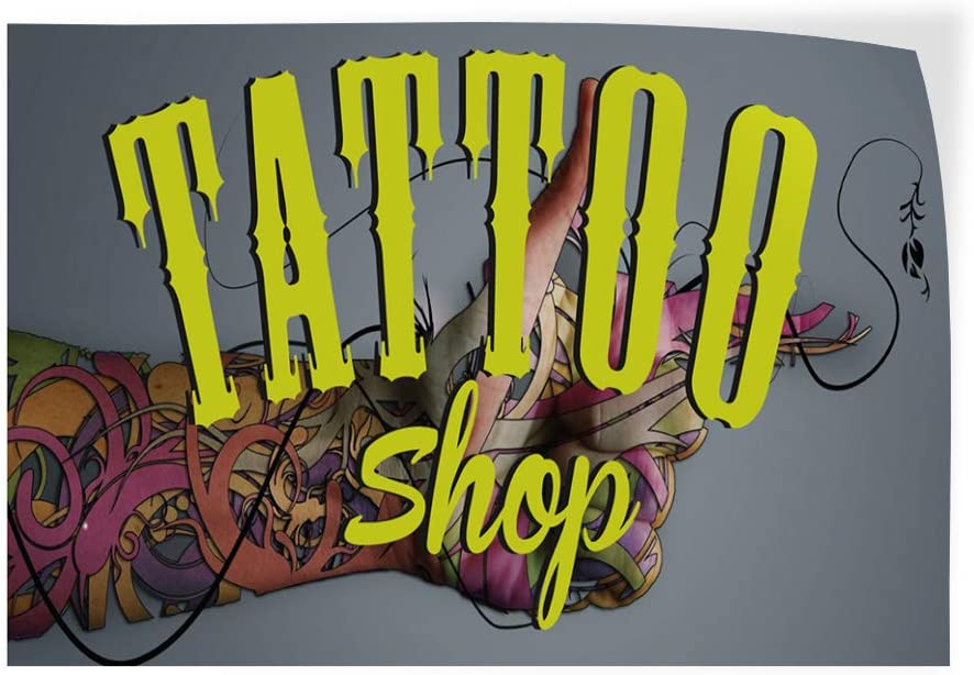Set of 2 Decal Sticker Multiple Sizes Tattoo Shop Business Style U Business Tattoo Shop Outdoor Store Sign Grey 52inx34in