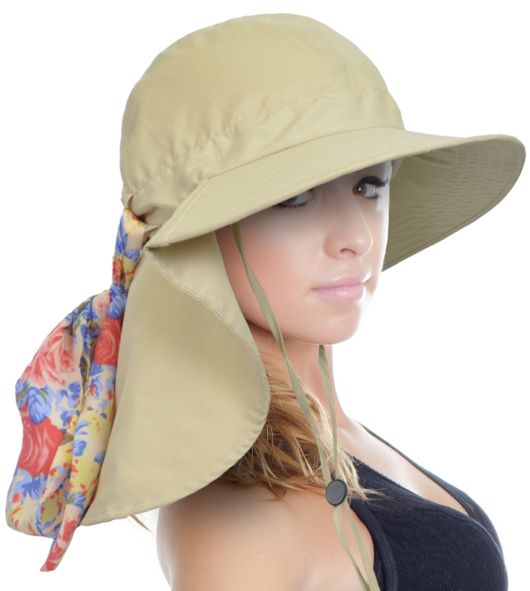 KEKLLE Women's Safari Sun Hat with Neck Flap Large Brim Packable Summer Beach Fishing Cap