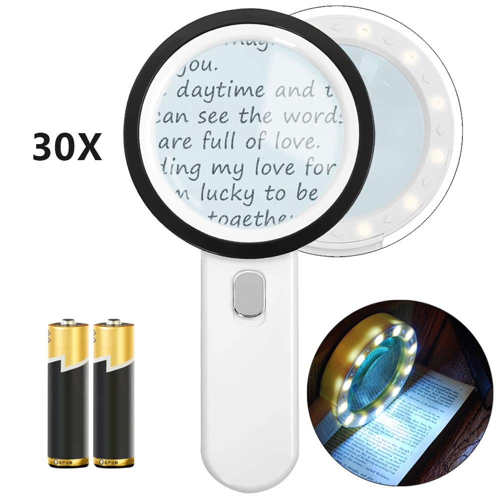 Magnifying Glass with Light, 30X Handheld Large Powerful Magnifying Glass Illuminated Lighted Magnifier with 12 LED for Macular Degeneration, Seniors Reading, Coins, Jewelry(Batteries Included)