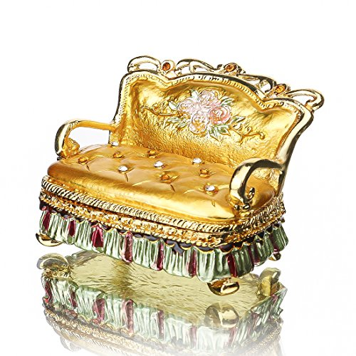 YUFENG Miniature SOFA Hand-painted Patterns Trinket Box Ring Holder Dish Earring Jewelry Box with Crystal (sofa trinket (Painted Sofa)