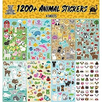 Animal Sticker Assortment Set (1200+ Count) Collection for Children, Teacher, Parent, Grandparent, Kids, Craft, School, Planners & Scrapbooking
