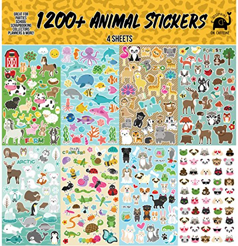 Josephine on Caffeine Animal Sticker Assortment Set (1200+ Count) Collection for Children, Teacher, Parent, Grandparent, Kids, Craft, School, Planners & Scrapbooking - Animals Sticker