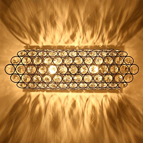 SPARKSOR Modern Luxury Crystal Wall Light Chrome Finish Wall Sconce Lighting Fixture 2xG9 2-Lights for Living Room Bedroom Hall Stairs Pathway(Silver)[Energy Class A+]