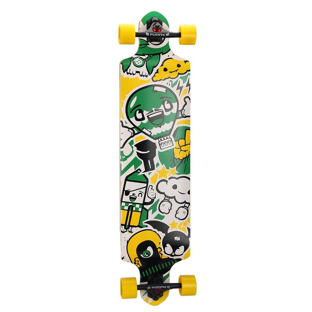 PUENTE Skateboard Complete Pro Drop Through Longboard 41 Inch(Green)