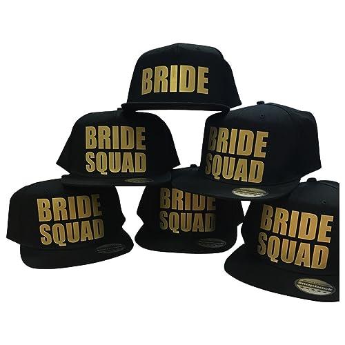 b8026e28cb3 Bride Squad Snapback Caps Hats Bride Tribe To Be Team Crew Hen Night Party  Gold Print  Amazon.co.uk  Handmade