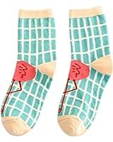 MIOIM Womens Fashion Cotton Sports Casual Cute Flamingo Low Cut Crew Socks