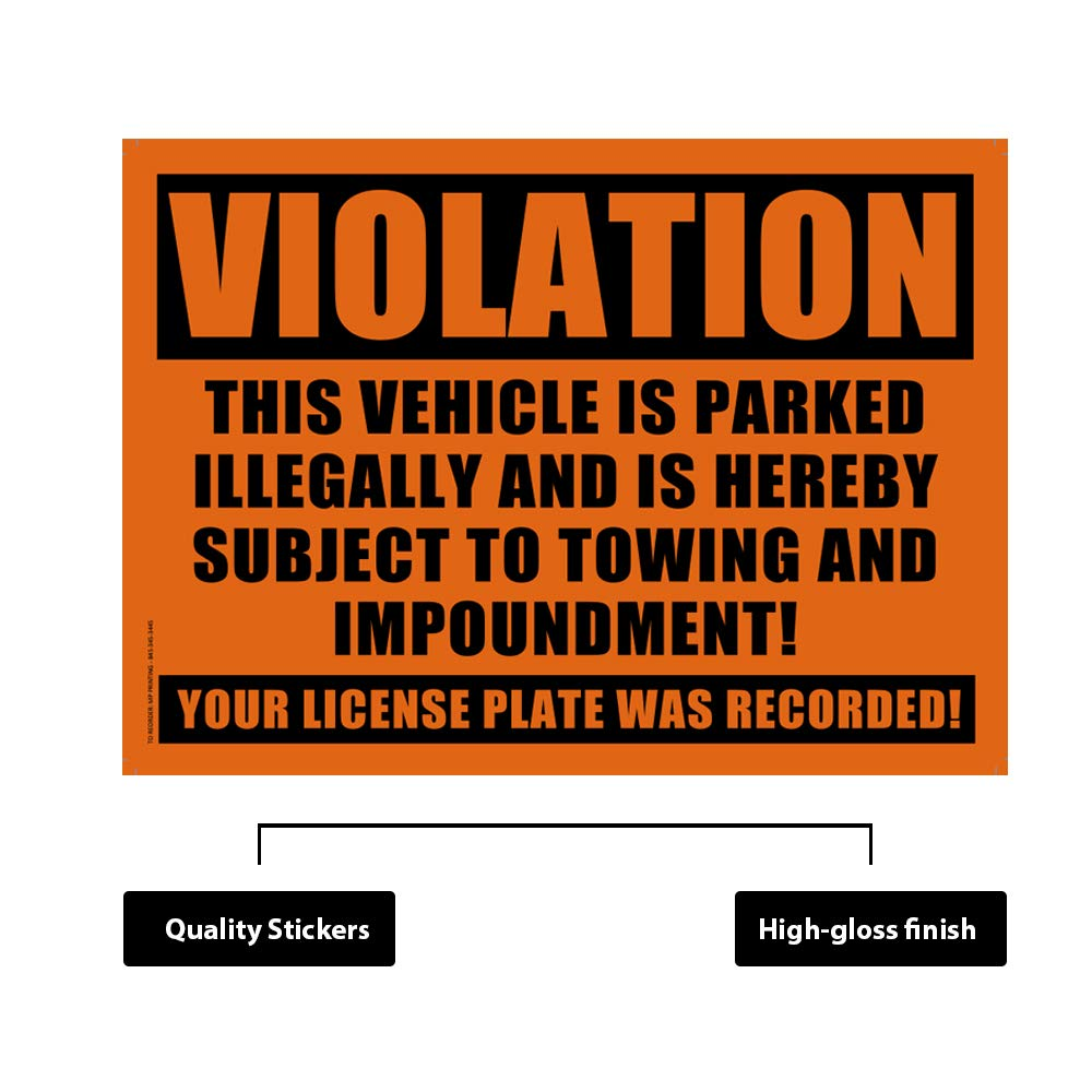 Private Parking Stickers Pack of 50 Reserved No Permit Area Violation Warning Notice Vehicle is Illegally Parked Yellow Large Size 6 X 9