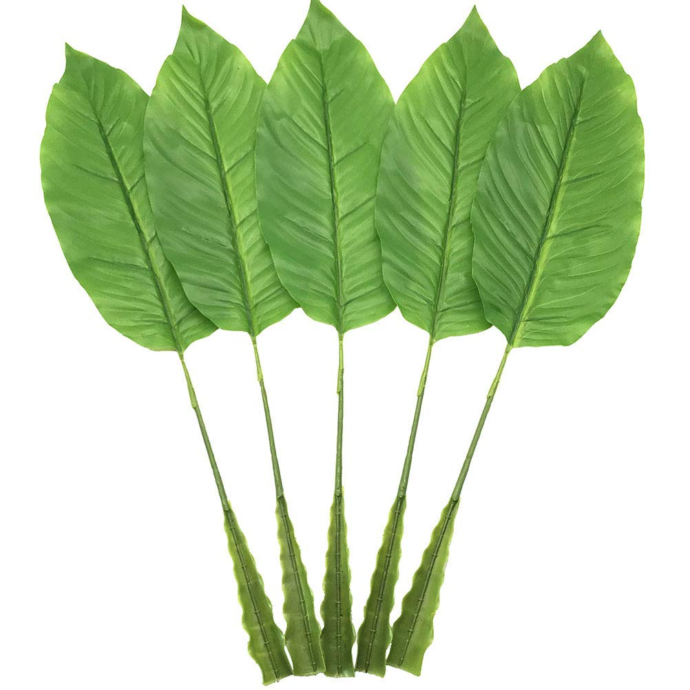 Warmter 5Pcs Tropical Leaves,Fake Artificial Banana leaf for Home Kitchen Party Decorations by (Green)