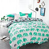 TheFit Paisley Textile Bedding for Adult U1160 Green Elephant Duvet Cover Set 100% Cotton 500 Thread Count, Queen Set, 4 Pieces