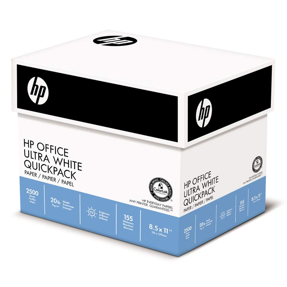 Office Ultra-White Paper, 92 Bright, 20lb, 8-1/2 x 11, 500/Ream, 5/Carton, Sold as 2500 Sheet by HP Papers