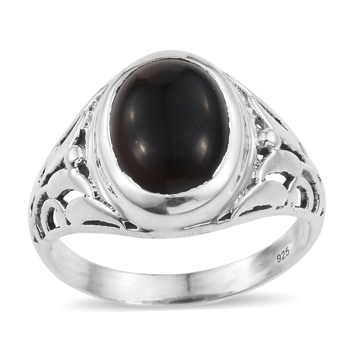 925 Sterling Silver Oval Black Onyx Fashion Ring For Women Size 9