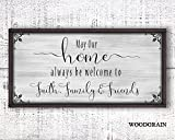 Custom family wood sign. Inspirational home quote is printed on canvas and adhered to wood base. 12x24 wooden frame is made in the USA. Home faith family friends