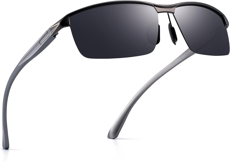 Jim Halo Polarizadas Conducir Gafas de Sol AI-Mg Metal Bisagras de Resorte Semi Sin Montura Anteojos Hombre
