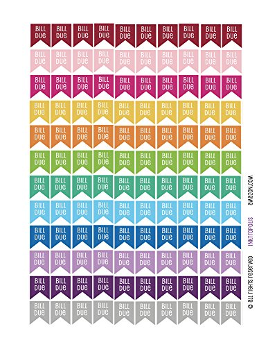 Bill Sticker - Monthly Planner Stickers bill due Flag Stickers Planner Labels Compatible with Erin Condren Vertical Life Planner