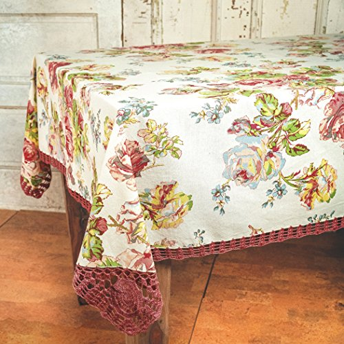April Cornell Antique Crochet Victorian Rose Tablecloth - 60