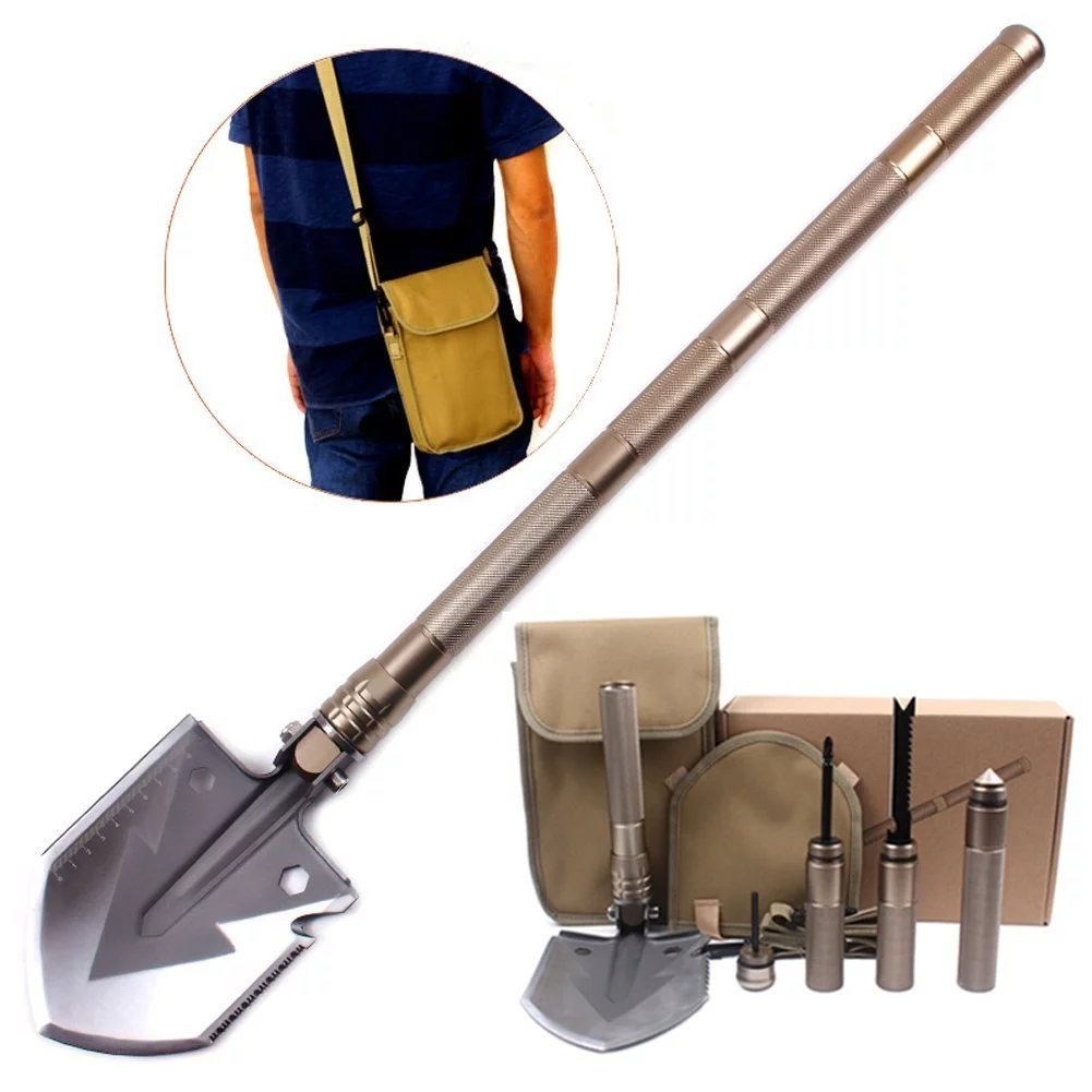 Compact Outdoor Folding Shovel,UrCool Super High Strength Steel Military Folding Shovel (18-in-1 Multifunction) A Must-have Lifesaving Hammer Tools for Off Road and Outdoor Camping Survival Gold by jasit (Image #1)