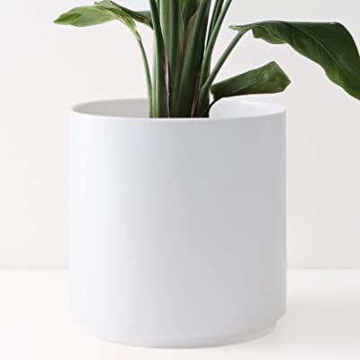 """PEACH & PEBBLE 12"""" Ceramic Planter (15"""", 12"""", 10"""", 8"""" or 7"""") - Large White Plant Pot, Hand Glazed Indoor Flower Pot for All Indoor Plants (White, Black, Melon or Gold) - White, 12 inch : Garden & Outdoor"""