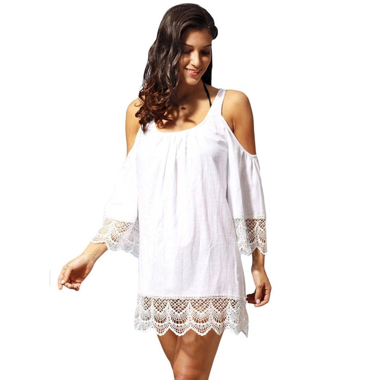 Mini Vestido, Oyedens O-cuello de encaje de manga larga de los vestidos de hombro Beach Party Cocktail Dress