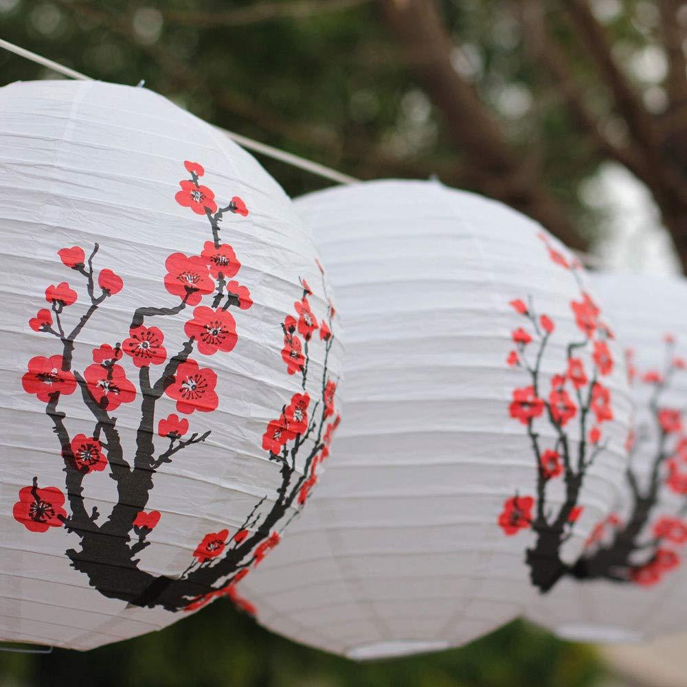 Cherry Just Artifacts Red Sakura Just Artifacts Brand Flowers White Color Chinese//Japanese Paper Lantern//Lamp 16 Diameter