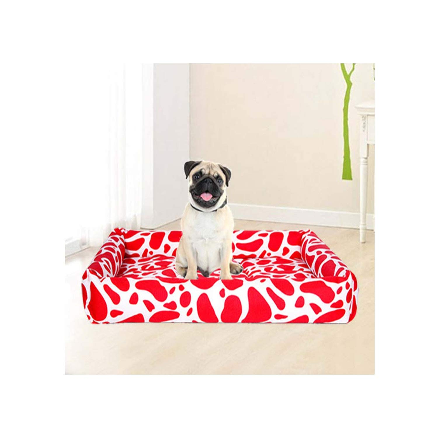 House Kennel Dog Bed Mat Puppy Cushion Summer Ice Fabric Mats Pet Products Puppy Litter Dogs Cat Beds,Red White,75X60 cm