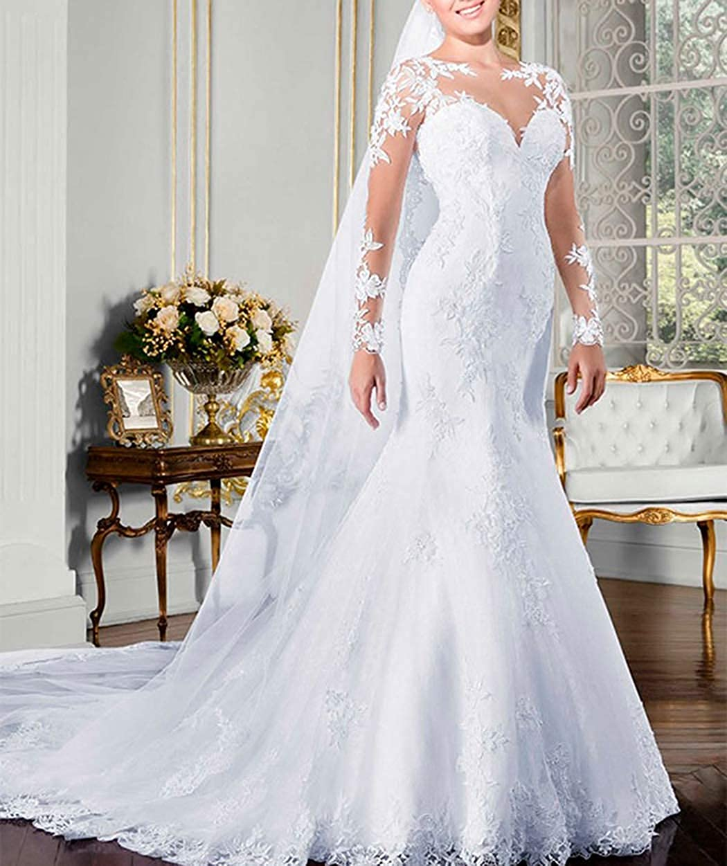 Womens Mermaid Lace Wedding Dresses with Long Sleeve Illusion Back Bridal Gowns