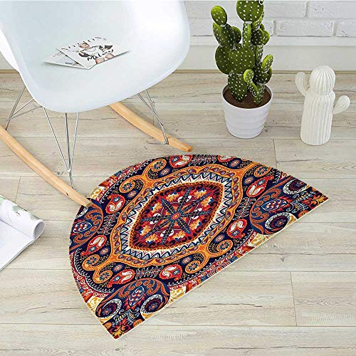 Paisley Half Round Door mats Arabic Style Ornamental Rug Pattern Inspired Design with Flowers and Leaves Bathroom Mat H 15.7
