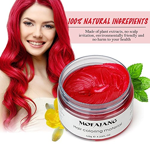Mofajang Color Treated Hair, Natural Washable Temporary Human Hair Color Creme, 4.23oz Instant Hair Wax Dye Styling Cream Mud, Hair Pomades for Party, Cosplay, Nightclub, Masquerade, Halloween Red -