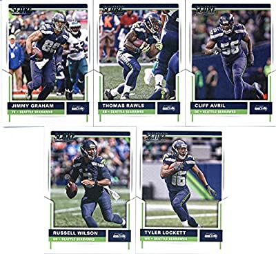2017 Score Seattle Seahawks Team Set of 10 Cards: Cliff Avril(#5), Thomas Rawls(#29), Jimmy Graham(#34), Tyler Lockett(#80), Russell Wilson(#98), Doug Baldwin(#169), Richard Sherman(#204), Jermaine Kearse(#246), C.J. Prosise(#280), Earl Thomas III(#324)