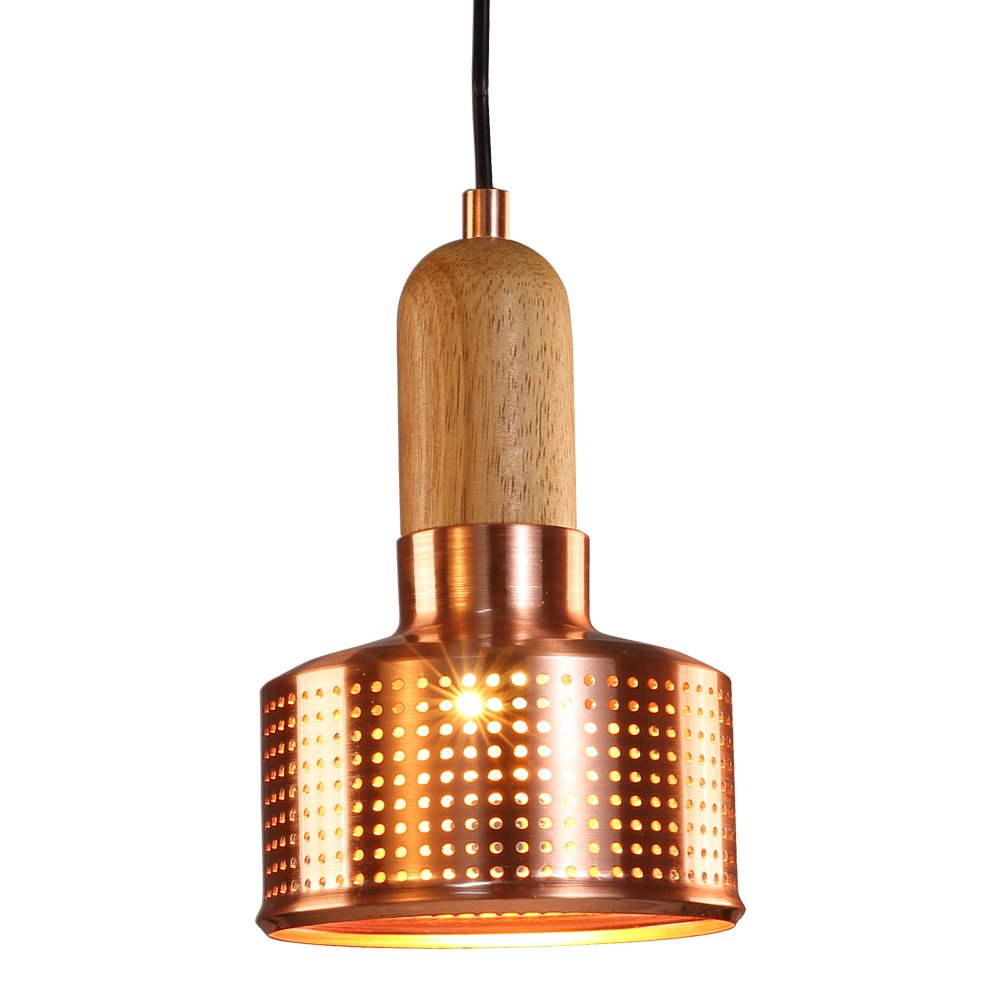 MSTAR Industrial Pendant Lighting Copper Finish Metal and Wood Hanging Ceiling Light Fixtures for Dining Room/Kitchen/Bar/Restaurant/Cafe (Copper)