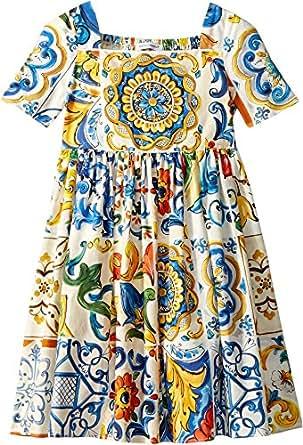 Dolce & Gabbana Kids Baby Girl's Poplin Maioliche Short Sleeve Dress (Toddler/Little Kids) Maioliche Print 2T (Toddler)