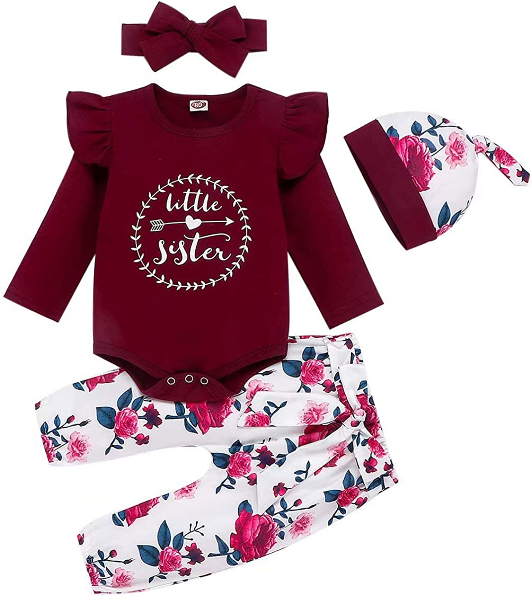 Baby Girl Clothes Newborn Outfits Infant Tops + Pants + Headband or Hats 4PCS