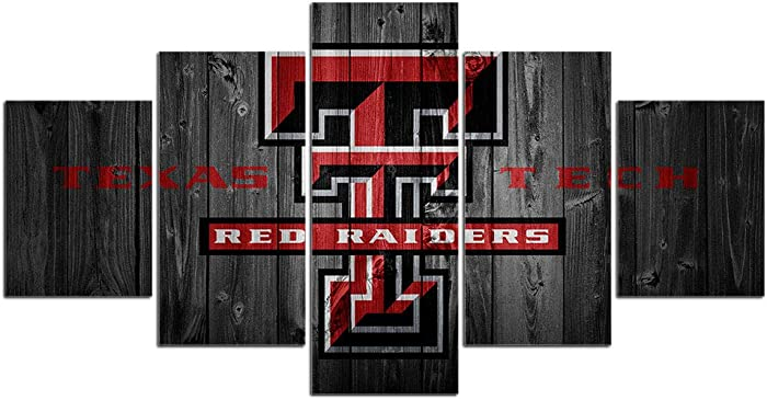 Texas Tech Red Raiders Wall Decor Art Paintings 5 Piece Canvas Picture Artwork Living Room Prints Poster Decoration Wooden Framed Ready to Hang(60''Wx32''H)