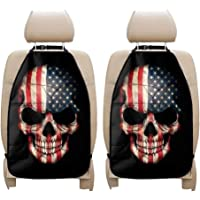 UNICEU American Flag Skull Print Car Kick Mat Seat Protector Set of 2 Pack Auto Kick Cover with Phone Holder for Kids…