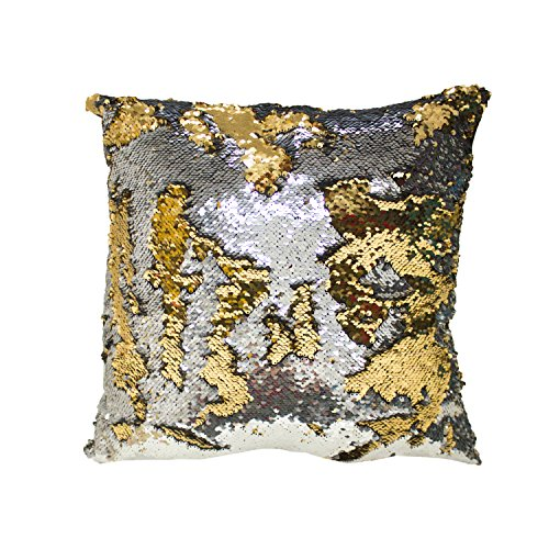 Decorative Sequin Throw Pillow 17x17 Inch, Comfortable Fill For Living Room, Couch, Bedroom, Fun Mermaid Reversible Style SILVER / GOLD (Set of 2) (Sequin Accent)