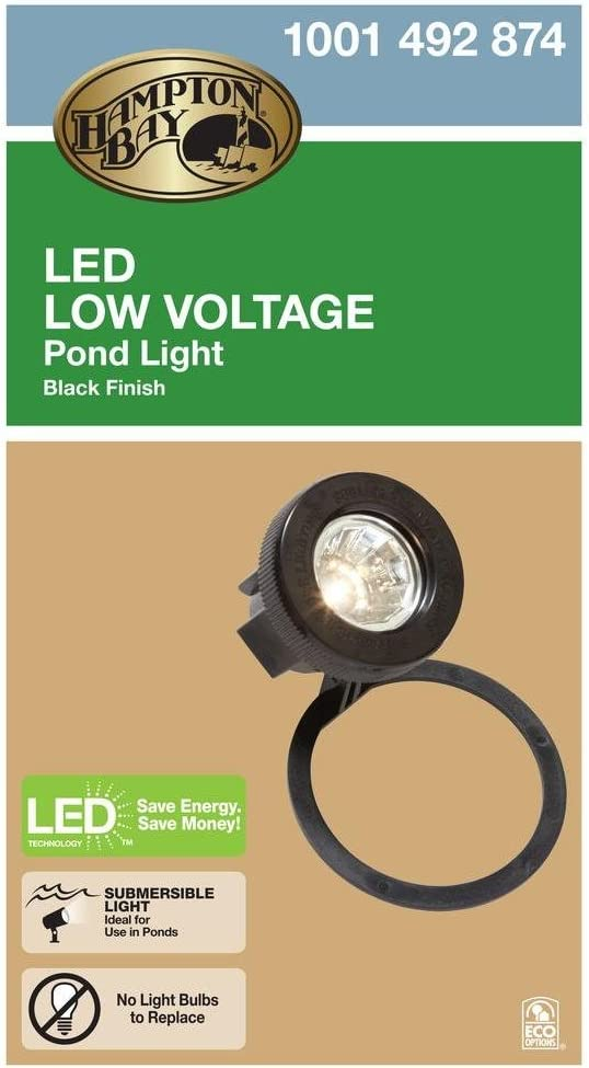 Hampton Bay Low-Voltage Black Outdoor LED Submersible Pond Light