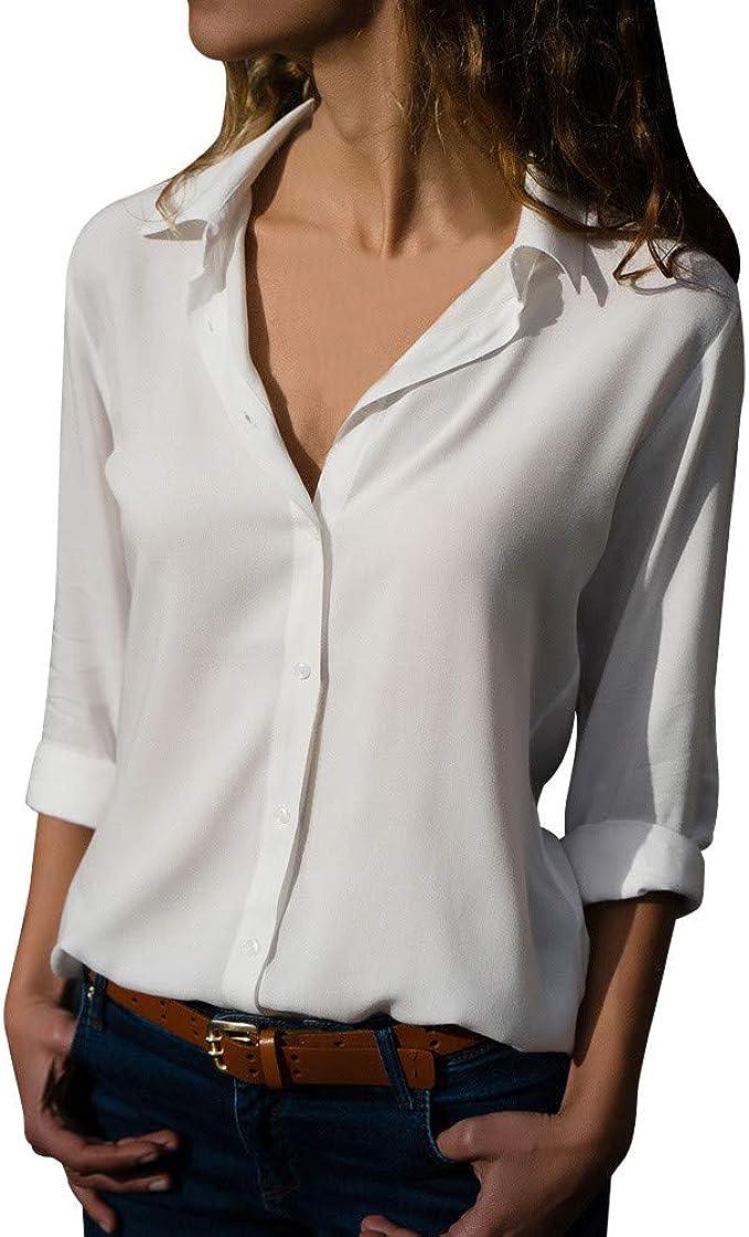 iClosam Camicetta Donna Manica Lunga Elegante Scollo V Cerniera Casuale Camicia Blusa Top