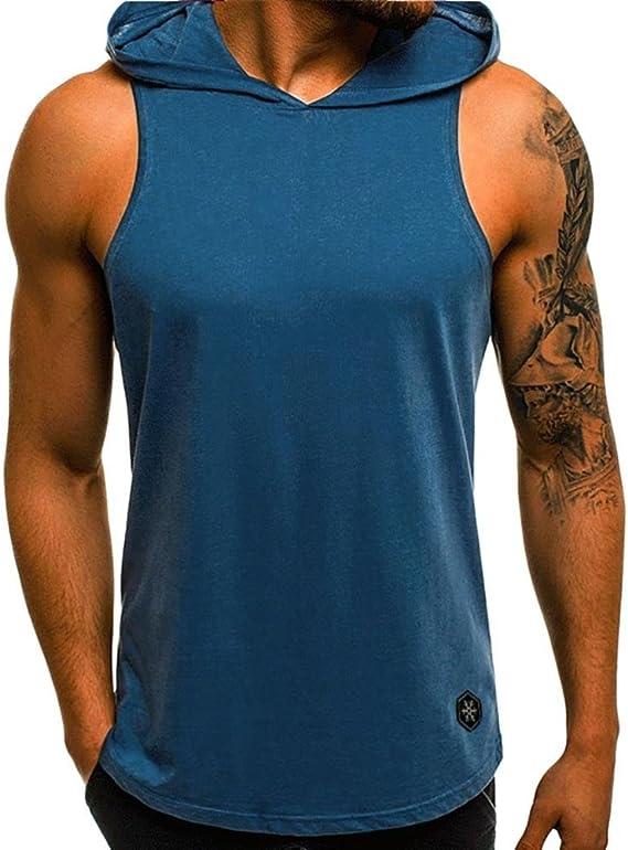 QinMM Camiseta con Capucha de Tirantes Deportes para Hombre, Tops ...