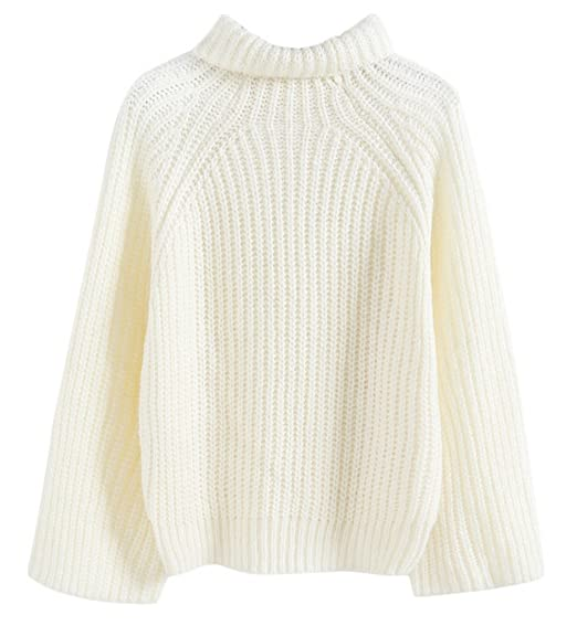 Y Tricoté Haut Court Manche Roulé Femme Pull Chandail Over Col Boa yvbf67gY
