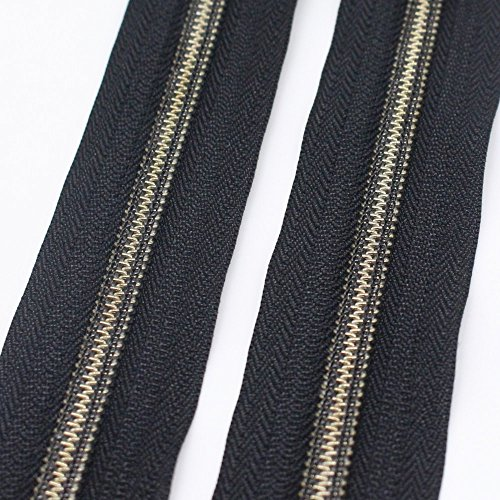 YaHoGa #5 Antique Brass Metallic Nylon Coil Zippers by The Yard Bulk 10 Yards Black Tape with 20pcs Anti-Brass Sliders for DIY Sewing Tailor Craft Bag (Anti-Brass Black)