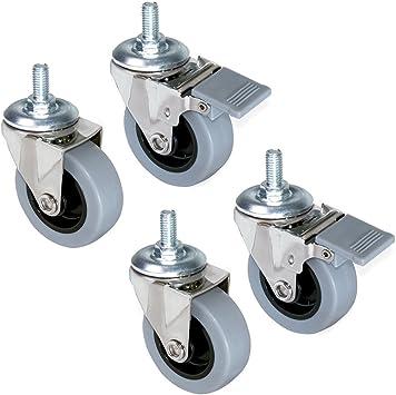 Lote de 4 ruedas pivotantes para mueble /Ø50mm con perno M10x25 y rodamientos de bolas