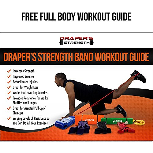 Draper's Strength Heavy Duty Pull Up Assist and Powerlifting Stretch Bands (Single Band or Set) 41-inch 6 Band Set (2-150 lbs)