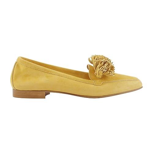 Exclusif Paris - Mocasines para Mujer, Amarillo (Amarillo Mostaza), P36: Amazon.es: Zapatos y complementos
