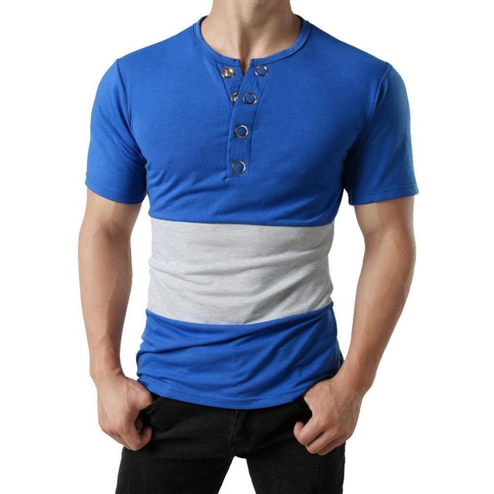 Camisetas del botón de los Hombres, Blusa con Botones Slim Fit ...